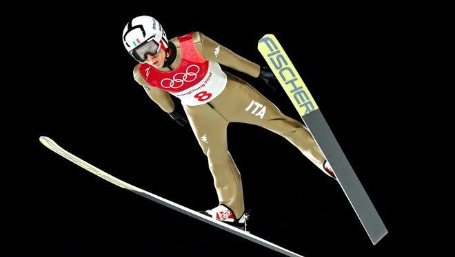 Davide Bresadola (ITA) jumps in the men's large hill individual qualifying round.