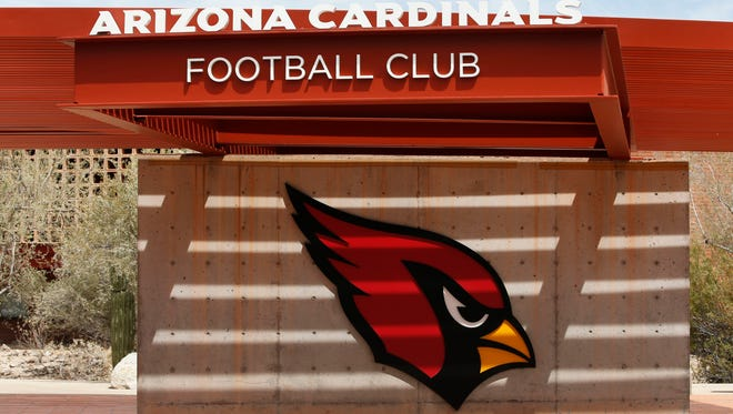 The Arizona Cardinals logo at the team's training facility in Tempe.