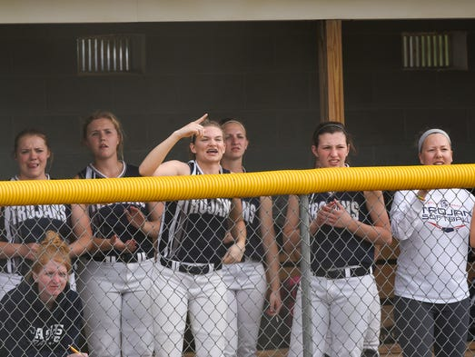 Chambersburg's softball team in the dug out watch and