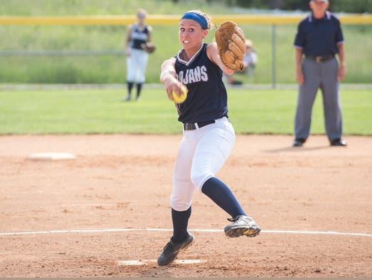 Laken Myers pitches for Chambersburg during a District