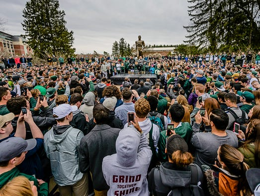Hundreds of MSU fans gather at a press conference at