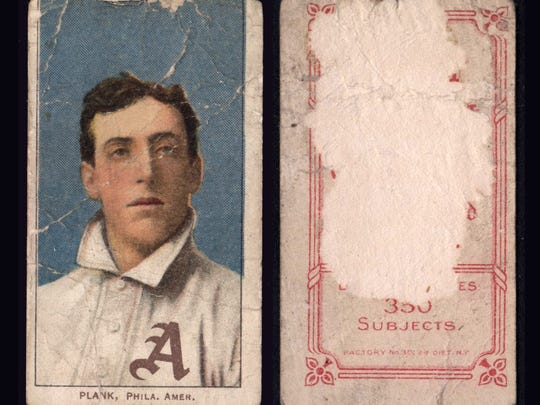 Some of the cards at one point were mounted in albums. Despite the paper loss on the back of the Eddie Plank card, it will sell for about $25,000 because it is very rare.