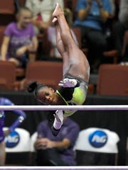 Trinity Thomas says her family has been instrumental in her gymnastics success. AP FILE PHOTO