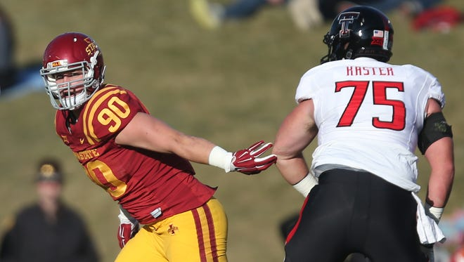Iowa State defensive lineman Mitchell Meyers (90) drops back into pass coverage during an NCAA college football game against Texas Tech on Saturday, Nov. 22, 2014, in Ames, Iowa.