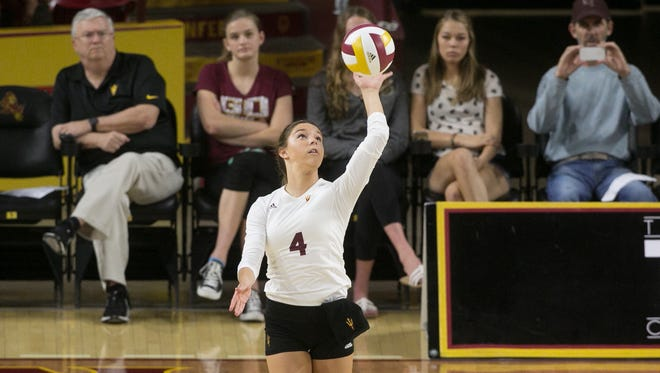 Kylie Pickrell of ASU (4) serves up the ball during the match between ASU and Ganzaga, Sunday, September 14, 2015, in Tempe, Ariz.