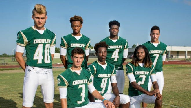 Crowley Gents' explosive offensive weapons John Marceaux (40), Jacq'Co Price, Ty'Von Griffin (4), Mikal Hebert (7), Pate Broussard (3), Xavier Johnson (9) and Terrell Thomas (2).