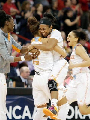 Tennessee players celebrate Saturday's Sweet 16 overtime win over Gonzaga.