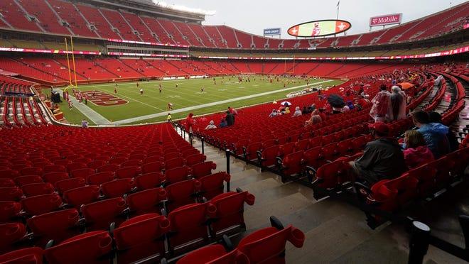 Fans watch the Kansas City Chiefs during NFL football training camp Saturday, Aug. 29, at Arrowhead Stadium in Kansas City.