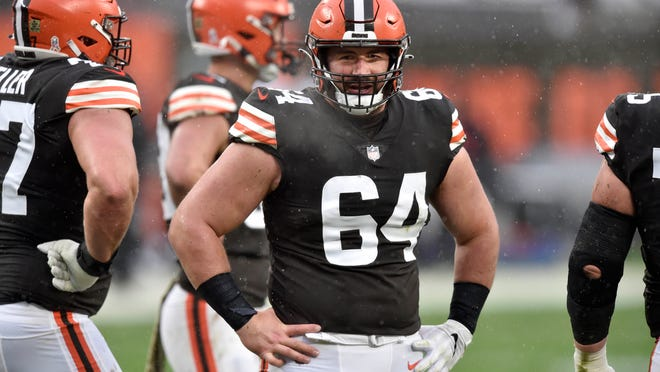 Browns center and NFLPA president JC Tretter feels for his coaches, including head coach Kevin Stefanski, and teammates who have tested positive for COVID-19 and will miss the team's wild-card playoff game against the Pittsburgh Steelers at Heinz Field on Sunday night. [David Richard/Associated Press]