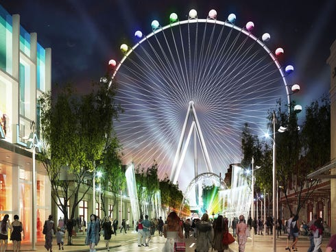 The wheel is considered the focal point of the Caesars Entertainment's LINQ project, a 300,000-square-foot, open-air entertainment, retail and dining district. While no official opening date has been given, gossip columns and Las Vegas buzz feeds est