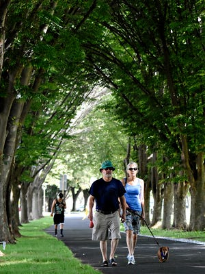 Chris Anderson, left, and Wendy Anderson, both of York City, walk Max, 9, on the York County Heritage Rail Trail near Princess Street following its post-reconstruction reopening in York City, Thursday, Aug. 11, 2016. Dawn J. Sagert photo