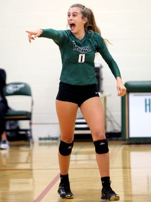 Mason's Sophie Hoffman acknowledges the student cheering section.