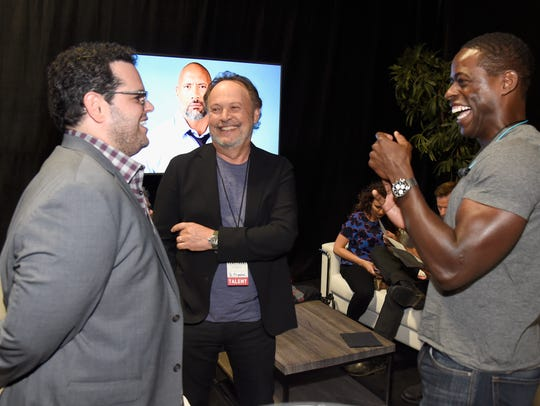 L.A. participants Josh Gad, left, Billy Crystal and