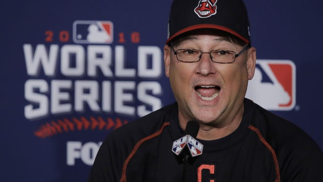 Indians manager Terry Francona answers questions before Game 7 of the World Series against the Chicago Cubs on Nov. 2, 2016, in Cleveland.