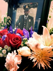 A memorial in honor of York City Police officer Alex