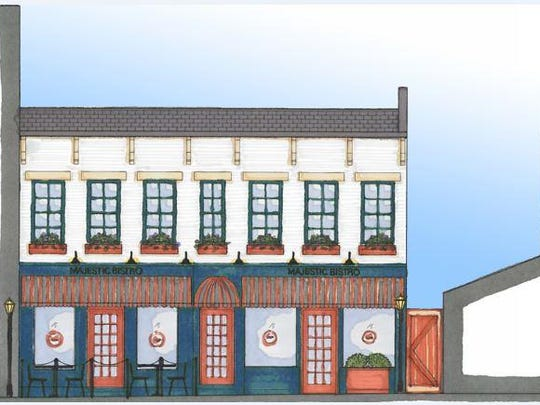 This conceptual drawing shows a vision of what a bistro in the building across and just down the block from the Majestic Theatre could look like if a decision was ever made to use the building in that fashion as part of creating a downtown entertainment district.