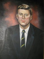 A portrait of President John F. Kennedy painted by