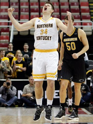 Northern Kentucky forward Drew McDonald (34) celebrates after a play during the first half of the Horizon League title game.