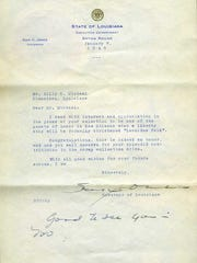Billy Michal received this letter from Louisiana Gov. Sam Jones, thanking him for his contributions to Zimmerman Rural School's scrap metal drive.