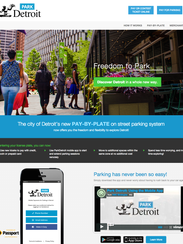 The home page of ParkDetroit.us, Detroit's new parking