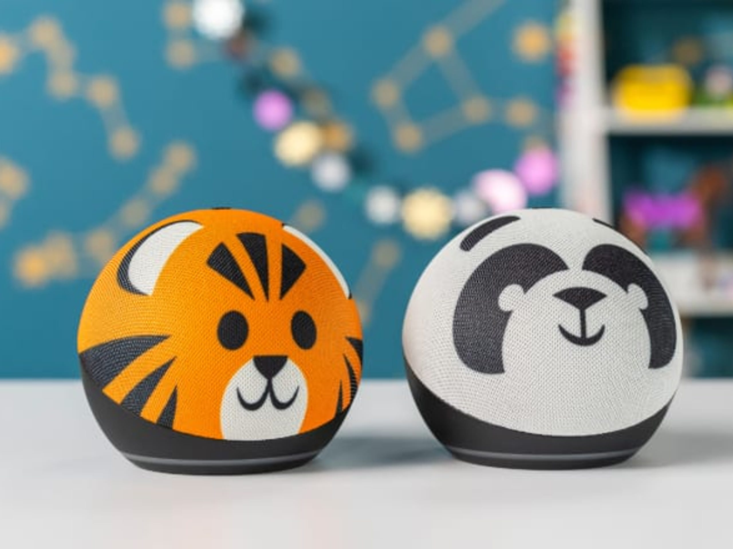The new Echo Dot Kids Edition is covered in fabric with fun animal designs kids are sure to love.