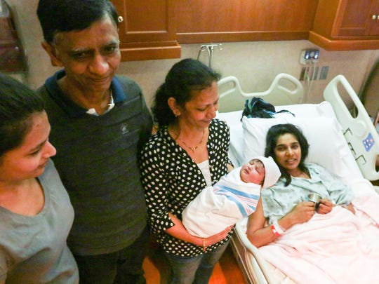 Anaya Patel was the first baby born at AnMed Women's and Children's Hospital in Anderson in 2017. Anaya's aunt. Misha Patel, left, grandfather Arvind Patel, grandmother Dhanlaxmi Patel, and mother Sonal Patel welcomed the baby Sunday afternoon.