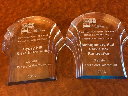 Two awards for the Gypsy Hill Drive-In for Children event and the Montgomery Hall pool renovation, which were given to the Staunton Parks and Recreation Department at the 63rd Annual Conference of the Virginia Recreation and Park Society.