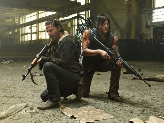 "Andrew Lincoln and Norman Reedus star as Rick Grimes and Daryl Dixon in ""The Walking Dead."""