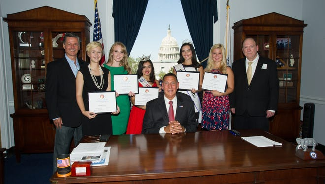 Five area pageant winners were recognized with a Certificate of Special Congressional Recognition for their community service during a recent trip to Washington, D.C.