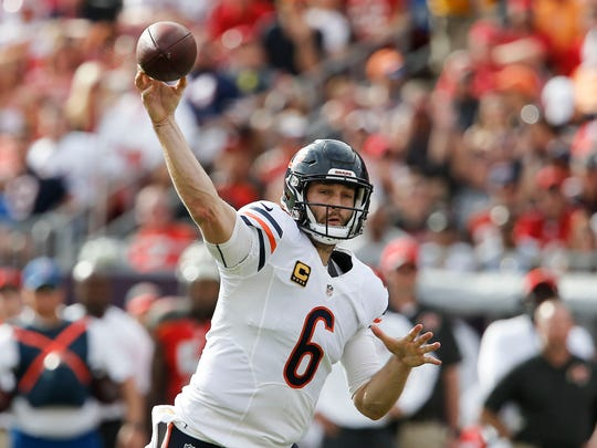Chicago Bears quarterback Jay Cutler (6) throws a pass during the second quarter of a football game against the Tampa Bay Buccaneers at Raymond James Stadium.
