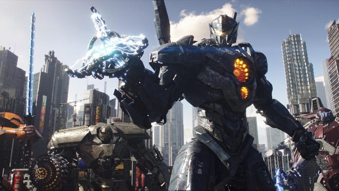 """A scene from """"Pacific Rim Uprising,"""" which returns to the world of giant fighting robots."""