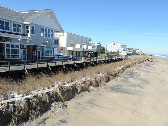 Beach erosion at Bethany Beach.