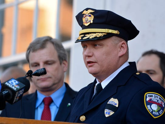 York City Mayor Michael Helfrich and Police Chief Troy