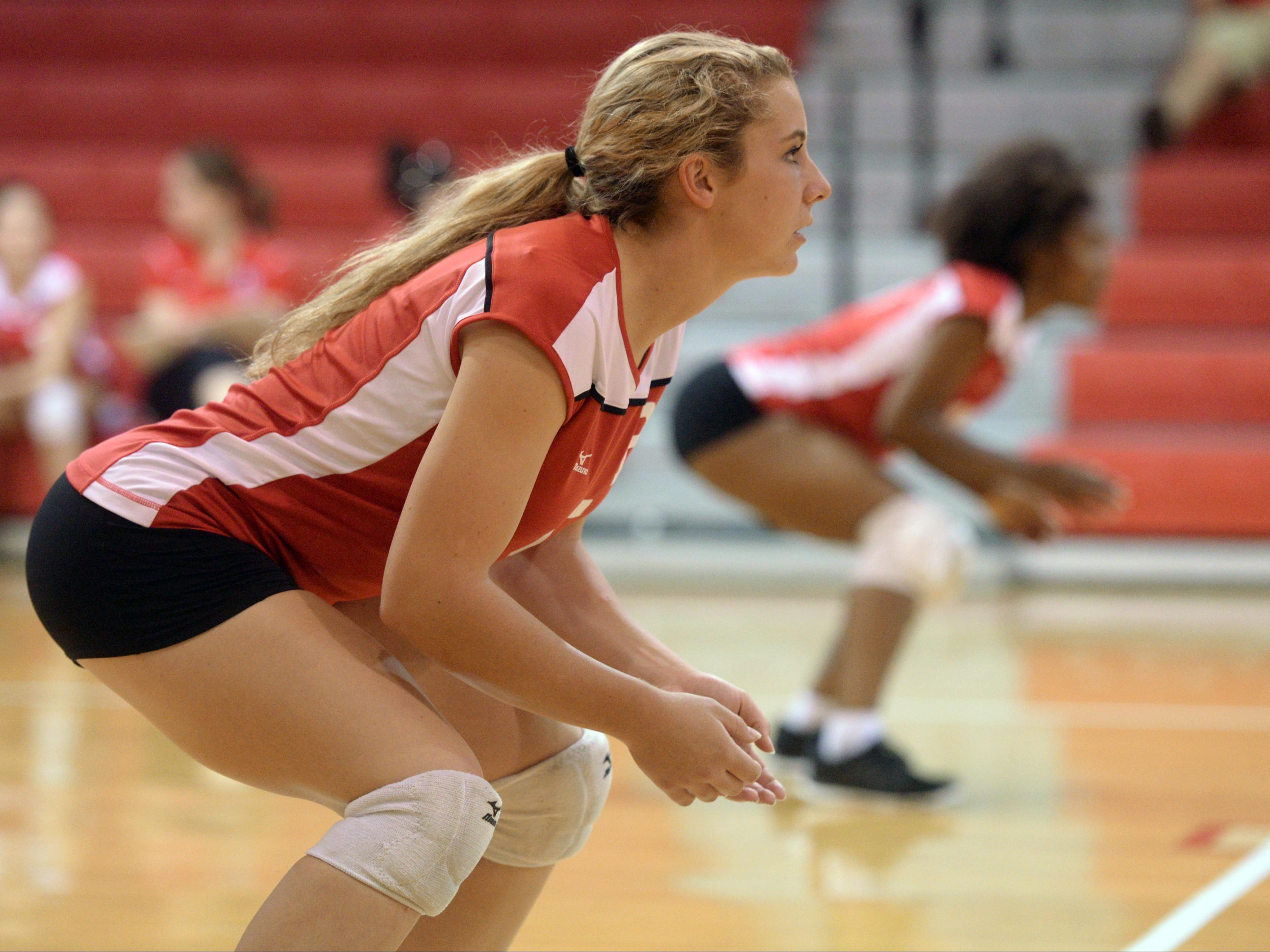 Kara Goff waits for serve as Ruston takes on Haughton in volleyball.