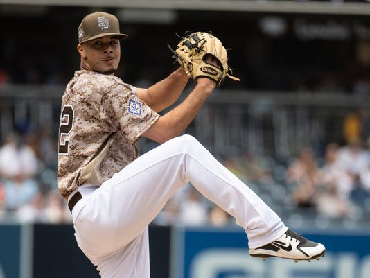 San Diego Padres starting pitcher Joey Lucchesi delivers during the first inning of a baseball game against the San Francisco Giants in San Diego, Sunday, April, 15, 2018. (AP Photo/Kyusung Gong)
