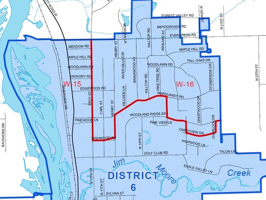 A partial map of Wausau's sixth district, represented