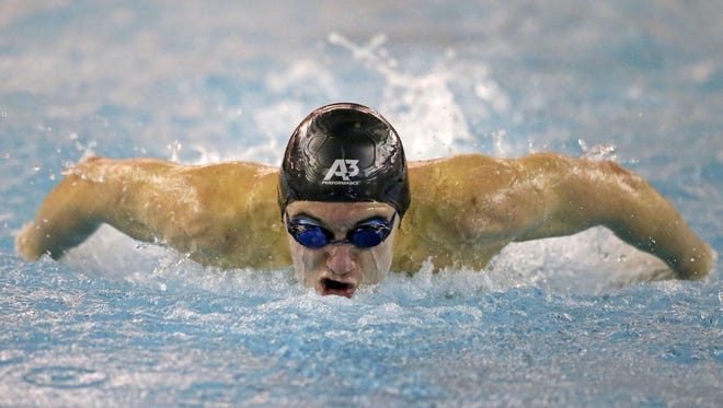 Josiah Vandenberg of Appleton North/East swims the 50-yard butterfly at the Rocket Sprint Invite on Saturday in Neenah.