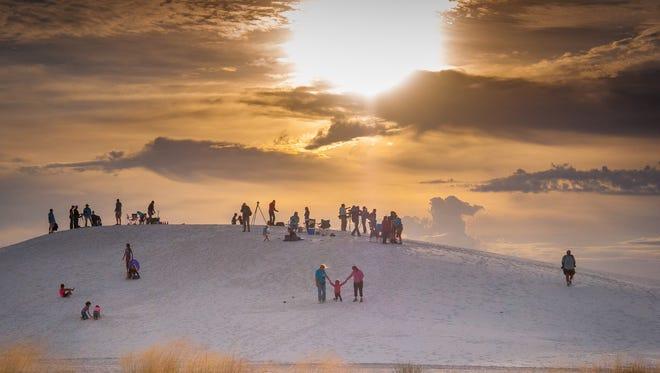 Several spectators at the White Sands Balloon Invitational at White Sands National Monument in September 2015.