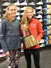 Mary Cain with North Rockland's Katelyn Tuohy, the Gatorade girls national cross-country runner of the year. on Feb. 7, 2018.