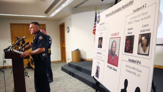 Scottsdale Police Commander Rich Slavin speaks during a joint press conference at the Scottsdale Police Department Headquarters June 4, 2018. Dwight Jones, suspected of murdering six people over several days, was found dead at a Scottsdale hotel.