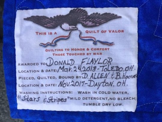 This label is included on every quilt. It includes the name of the recipient and the names of who created the quilt.