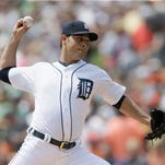 Detroit Tigers starting pitcher Anibal Sanchez throws during the first inning of an interleague baseball game against the Colorado Rockies, Sunday, Aug. 3, 2014, in Detroit.