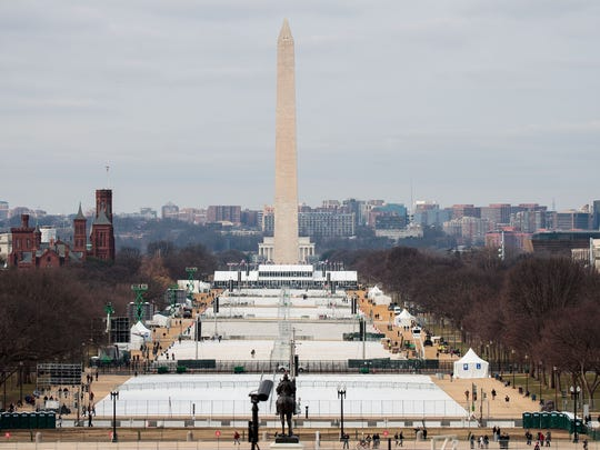 WASHINGTON, DC - JANUARY 19: A view of the National Mall from the West Front of the U.S. Capitol, January 19, 2017 in Washington. DC. Trump will be inaugurated as the 45th U.S. President on Friday.