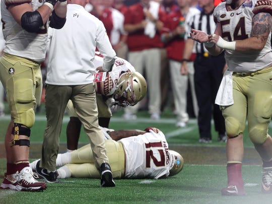 Some fans have blamed Florida State's lackluster offensive line for Deondre Francois' season-ending patellar tendon injury suffered against Alabama.
