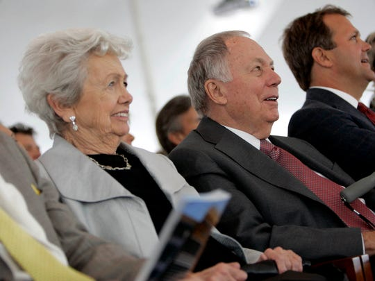 Kay Eckstein (left) and her husband Ray shown during the 2010 dedication of  Eckstein Hall at the Marquette University Law School.