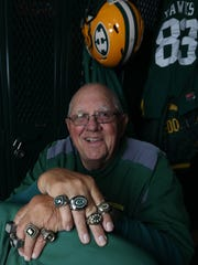John Herrington with some of his state championship rings Oct. 12, 2017.