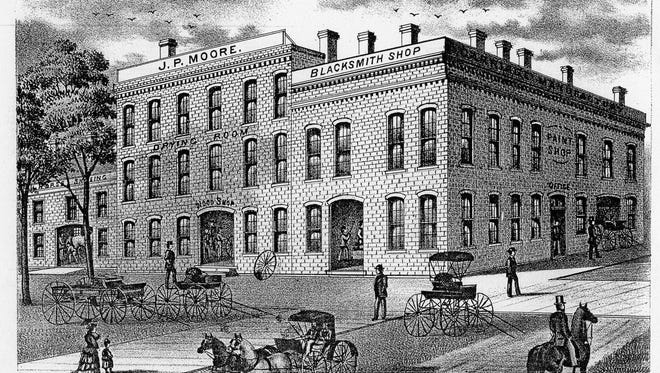 This lithograph of Moore's large carriage factory appeared in the 1874 Atlas of Sandusky County.