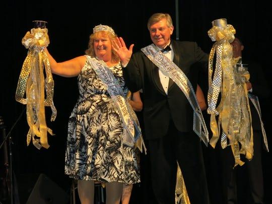 Krewe Gemini Duchess of Louisiana Sheri Underwood and Duke Roger Lites at coronation.