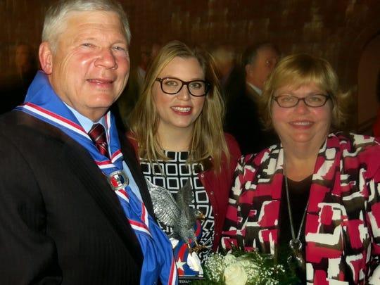 """Honoree Bob Elder, daughter Katie Elder, wife Bess Elder at """"This is Your Life"""" celebration."""