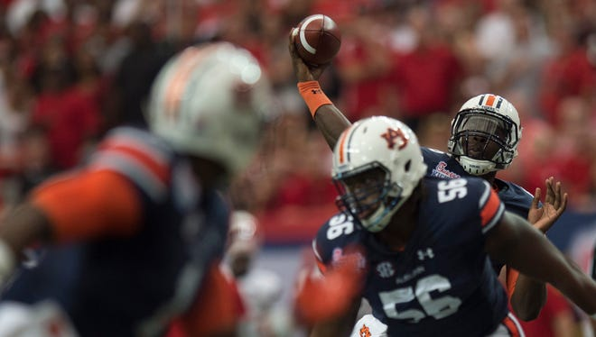 Auburn quarterback Jeremy Johnson (6) throws a pass during the NCAA football game between Auburn and Louisville on Saturday, Sept. 5, 2015, in at the Georgia Dome in Atlanta, Ga.